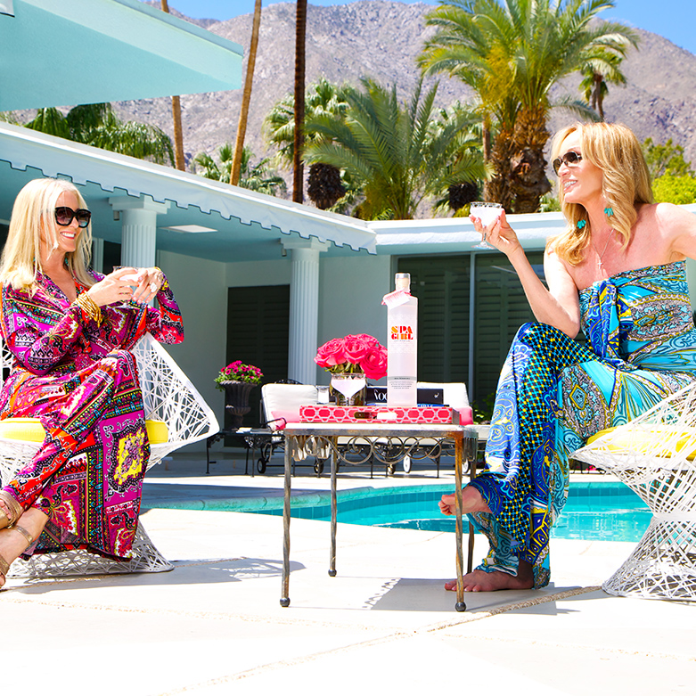 Karen Haines And close friend & neighbor Susan Anton enjoy a Spa martini poolside in Palm Springs.