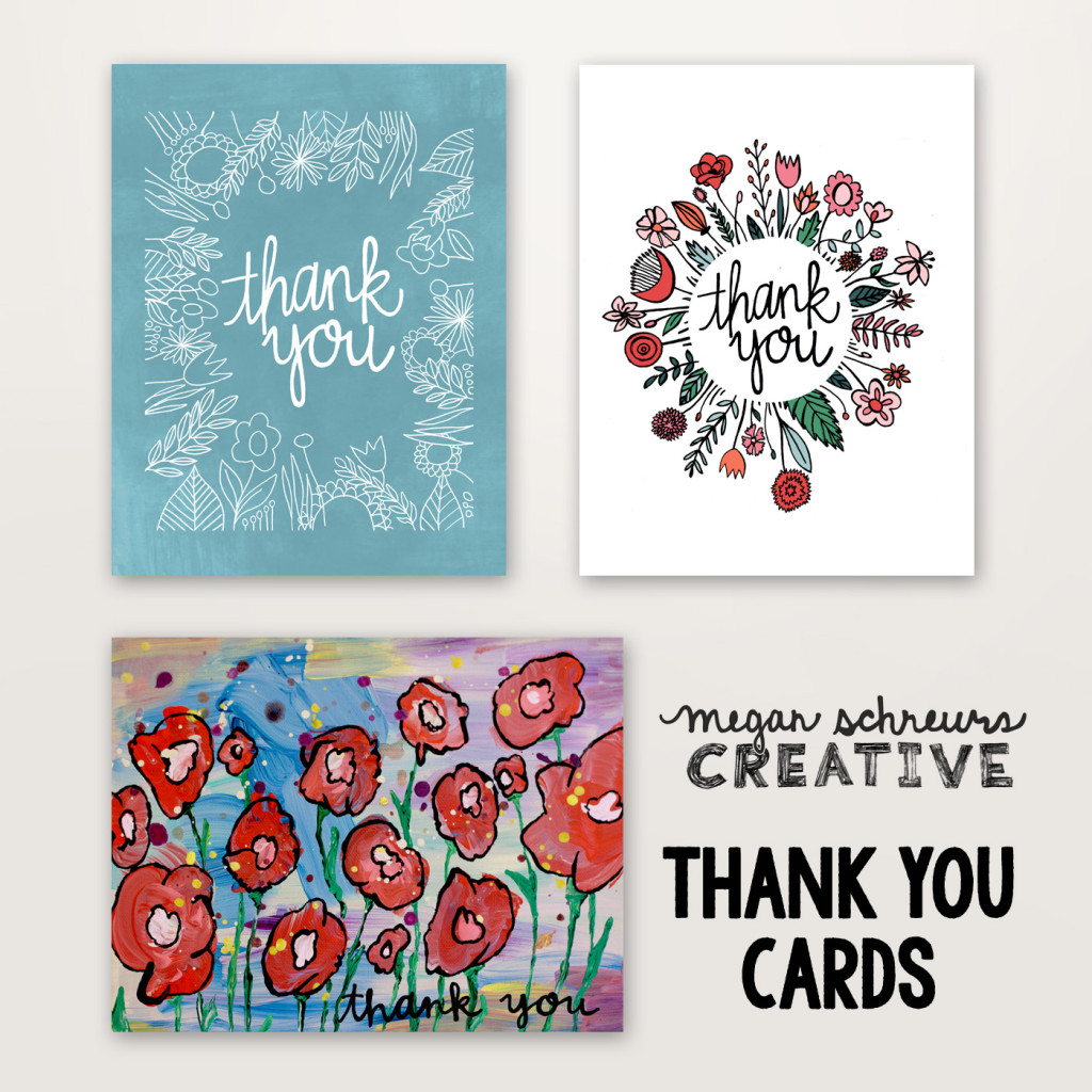 hand lettered thank you cards