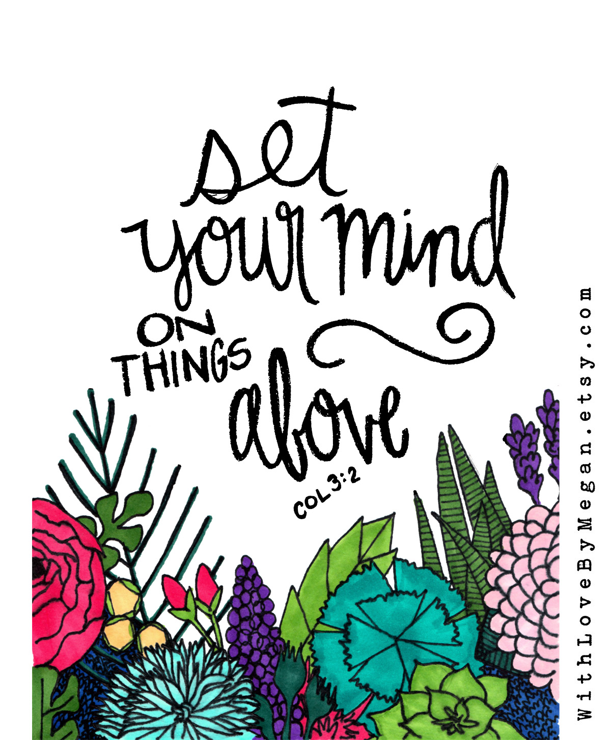 Set your mind on things above, handlettering