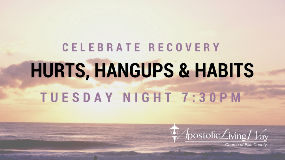 Do you have a hurt, hangup or a habit?  - Are you looking to get direction in your life? Celebrate Recovery is faith based and it is designed to help you with tools to overcome hurts, hangups, and habits. We are an anonymous group that meets on Tuesday nights at 7:30 pm in our church sanctuary. How it works: Large Group meets from 7:30 pm - 8:30 pm, here topics will be discussed such as denial and how to take the first steps to overcoming hurts, hangups and habits. Small Group 10-15 people (gender specific) meets from 8:30-9:00 pm Youth Small Group (gender specific) meets from 8:30 - 9:00 pm Small groups consist of discussing the large group lesson. Each person who needs a voice will be heard. This will be an individual approach, a safe and anonymous place to get help.