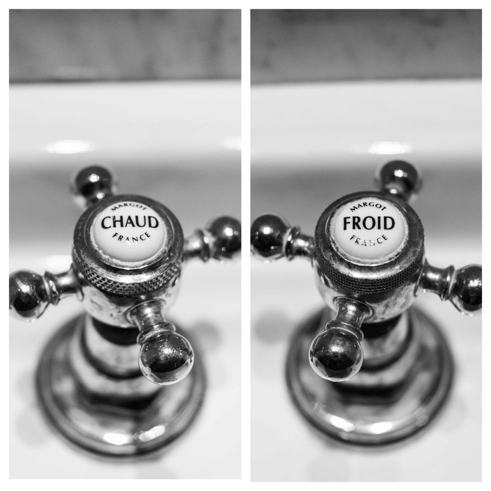 black and white photography french bathroom art hot and cold set bathroom decor set of 2 prints paris french bathroom fixtures