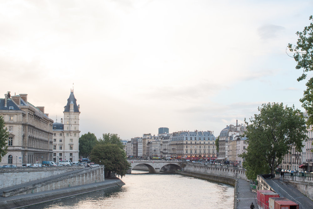 Paris seine via everyday Parisian sunset in Paris
