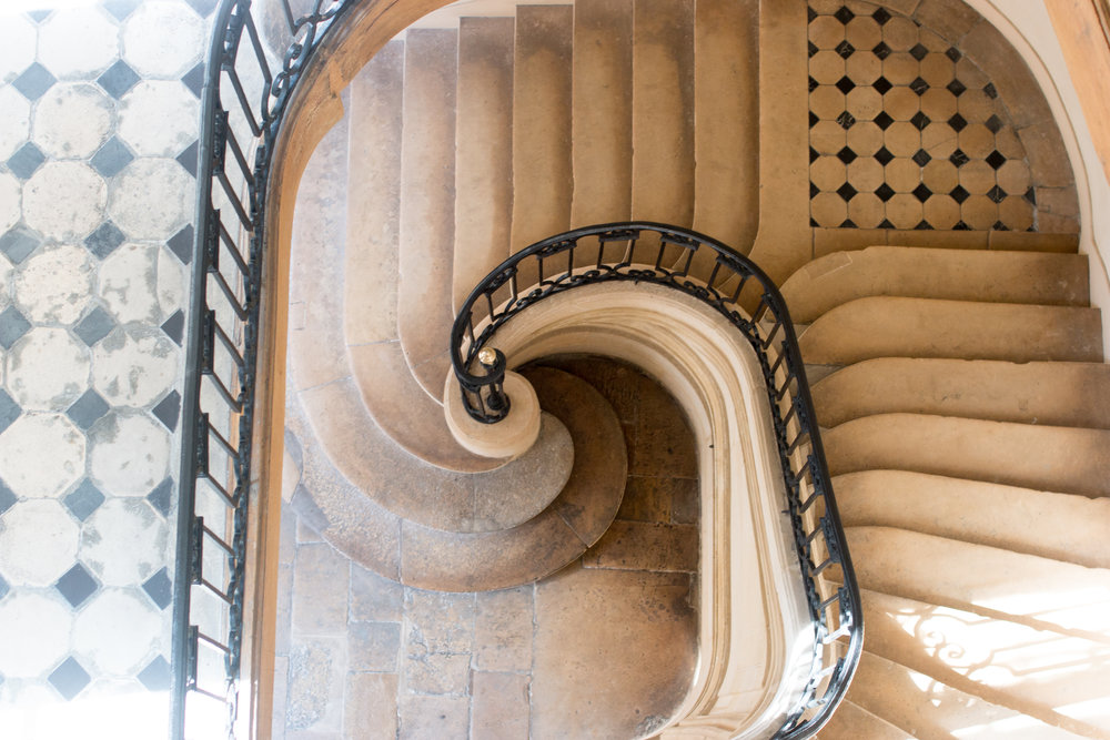 parisian staircase on ile st louis by rebecca plotnick