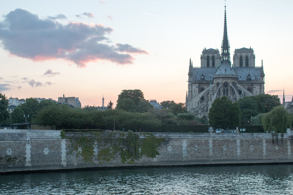 sunset over notre dame in paris, france by everyday parisian