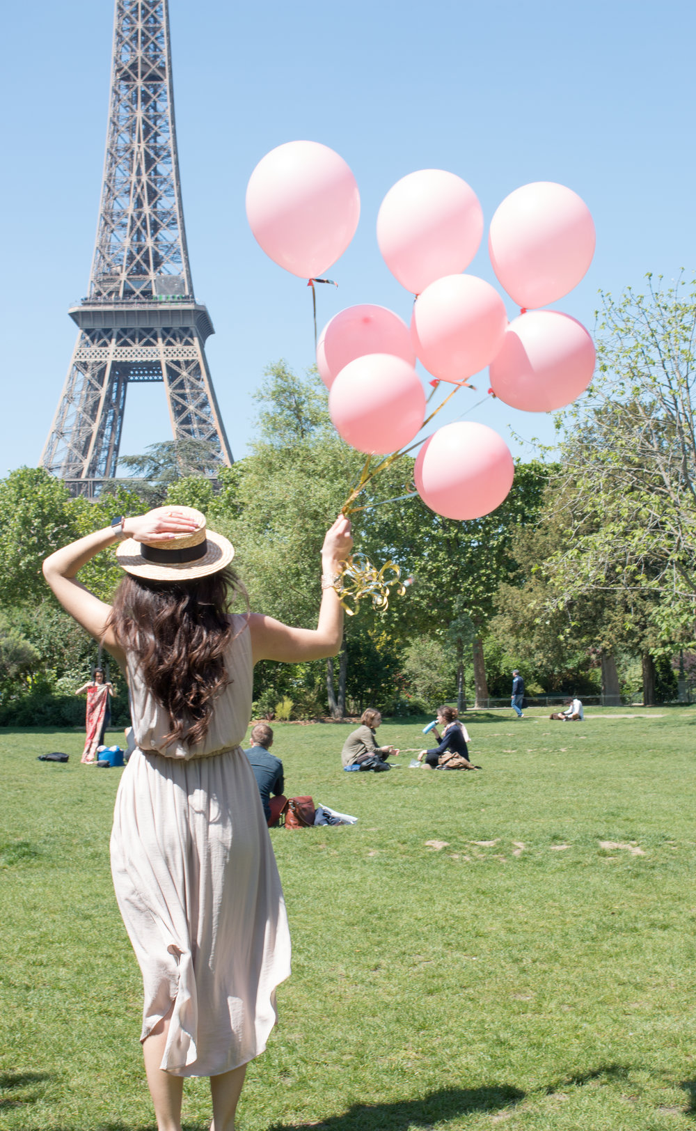 pink balloons at the eiffel tower in paris france