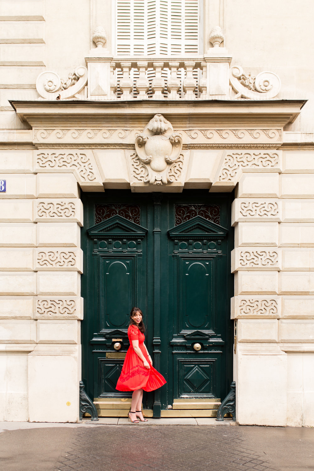 rebecca plotnick in paris red dress by katie donnelly