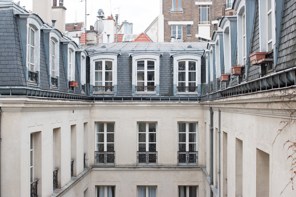 rooftop view in the marais from paris apartment