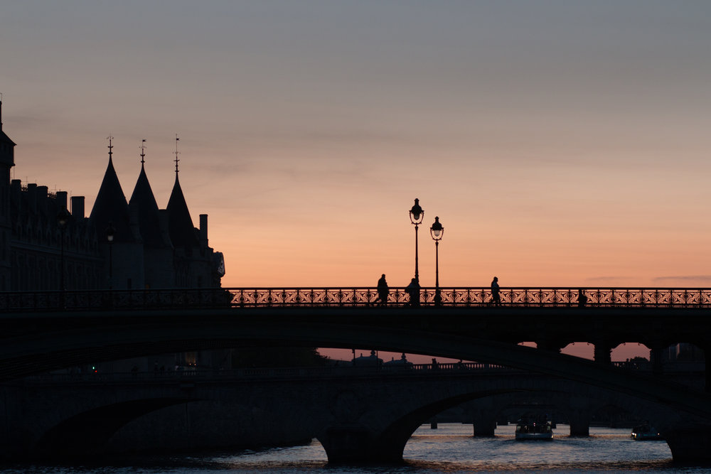 sunset stroll on the seine