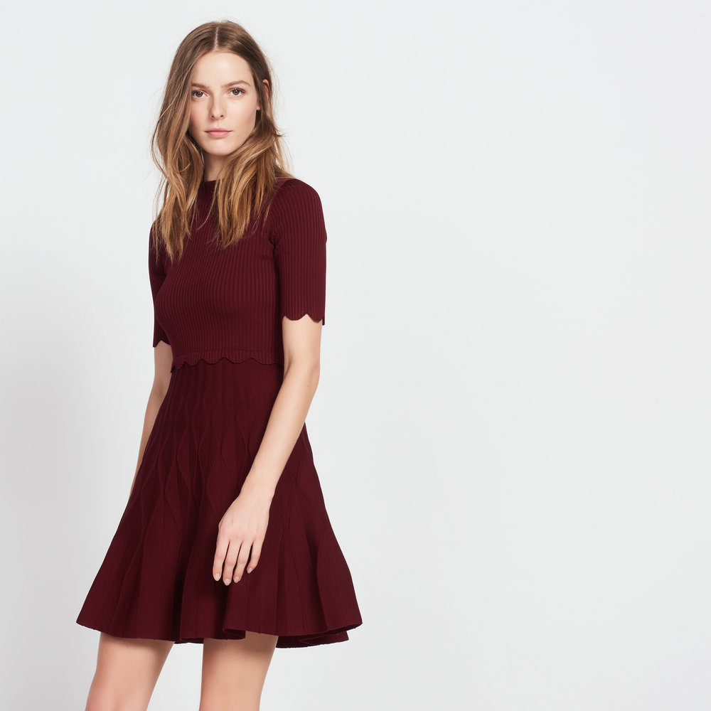 sandro knit dress burgandy
