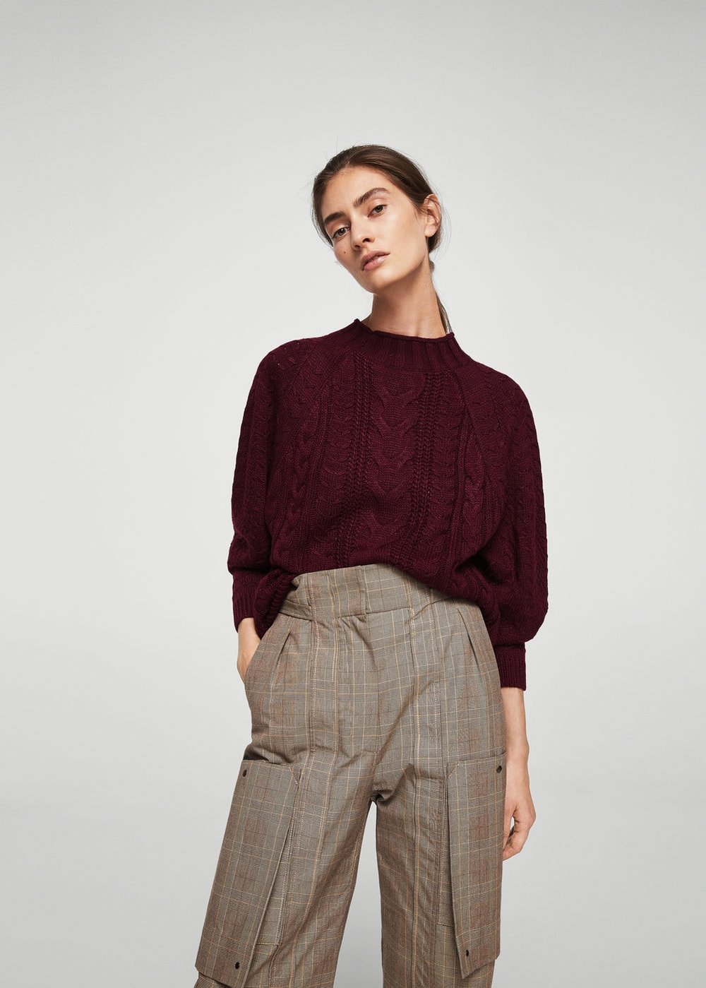 mango knit sweater burgundy