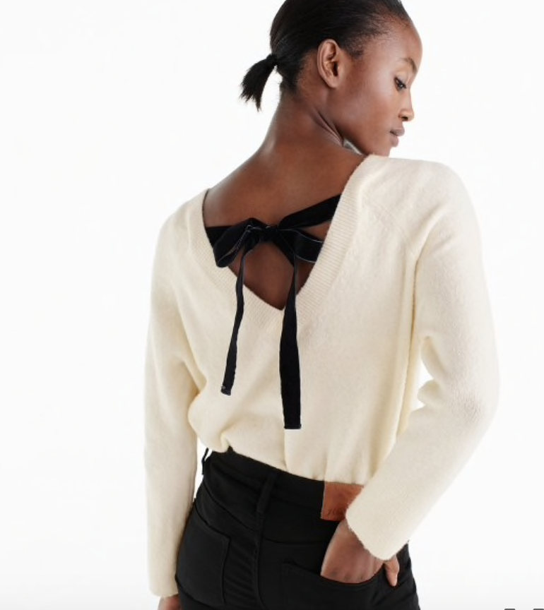 velvet tie back sweater j crew