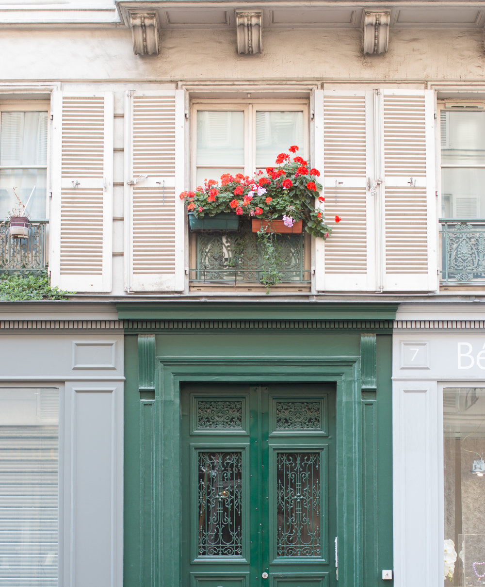paris window and green door