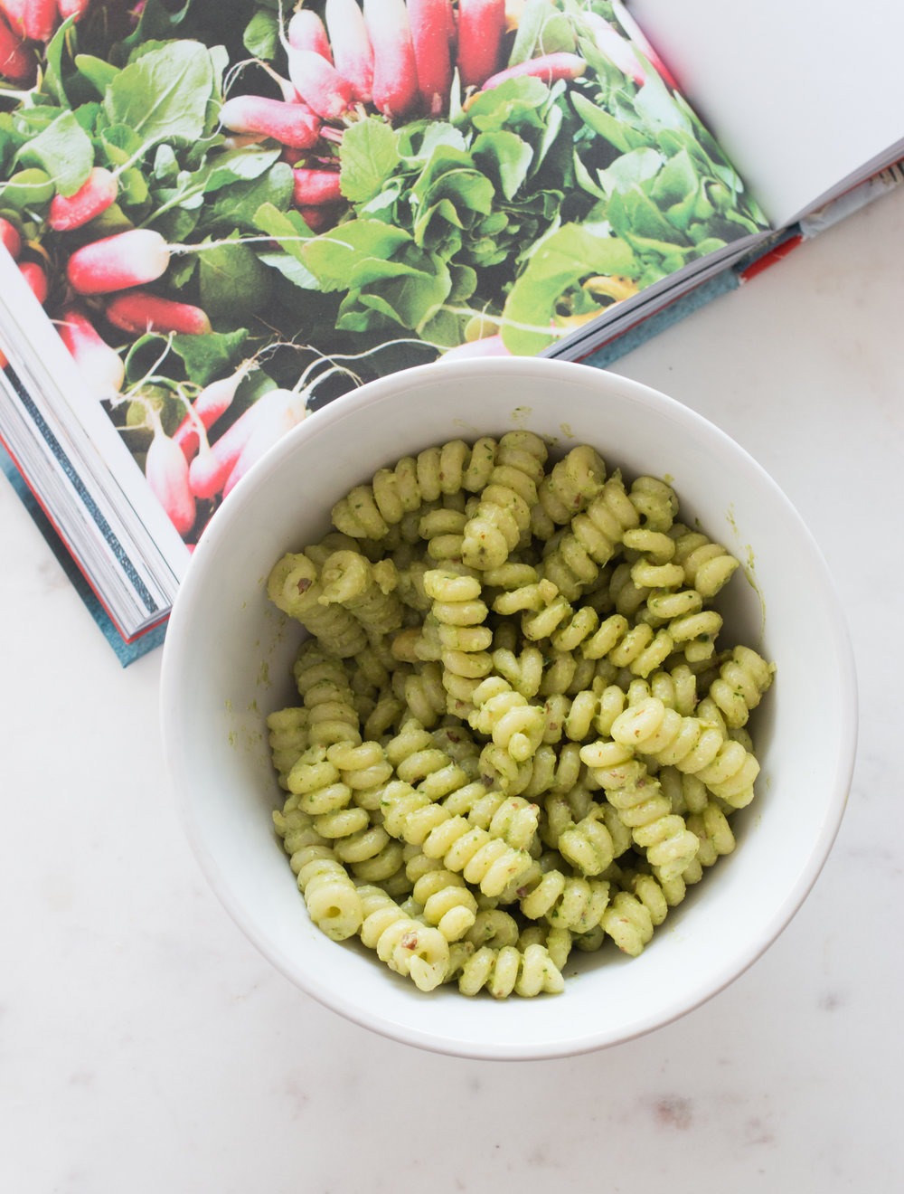 radish pesto and fuisilli