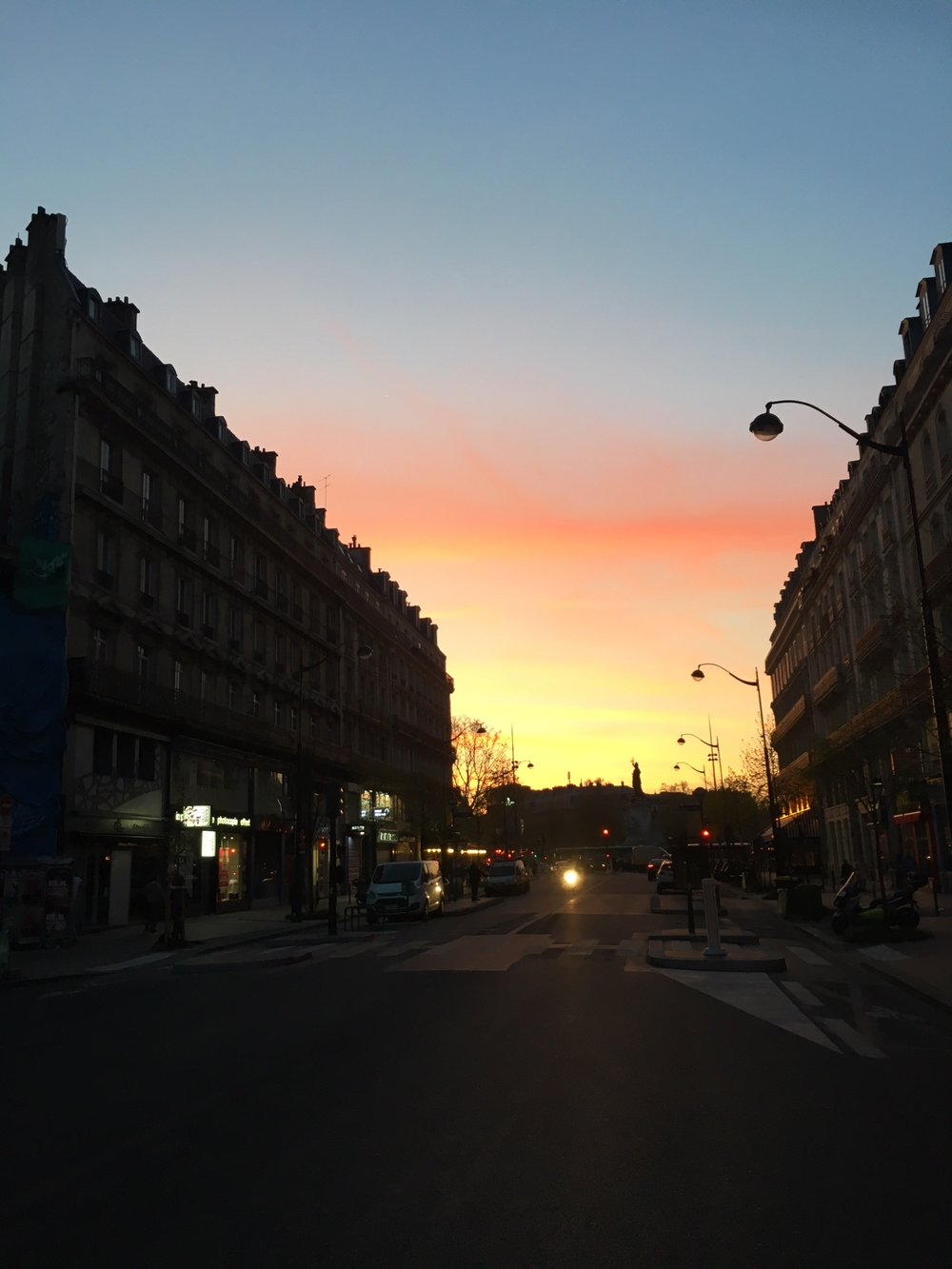 sunset in paris france