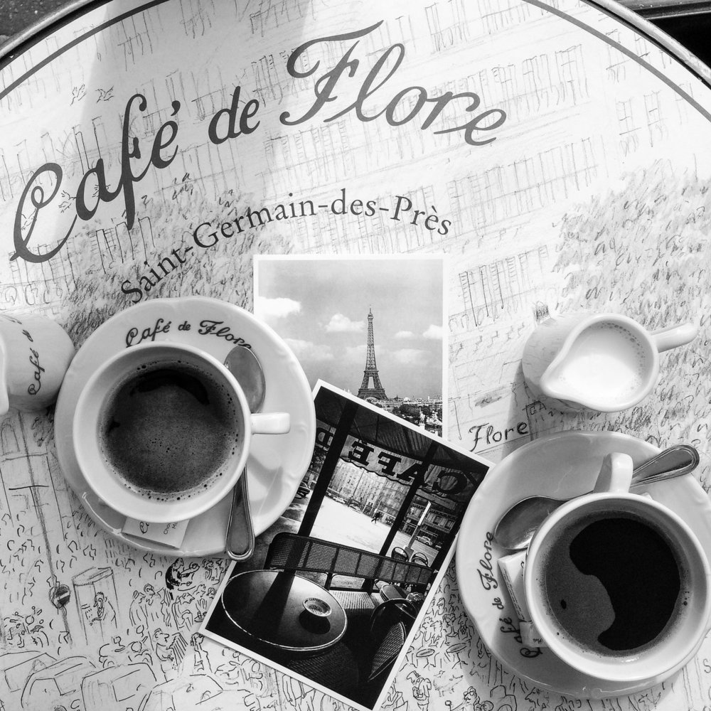 cafe de flore paris black and white photograph