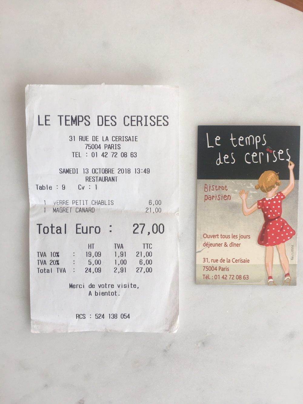 le temps des cerises bistro parisien paris france