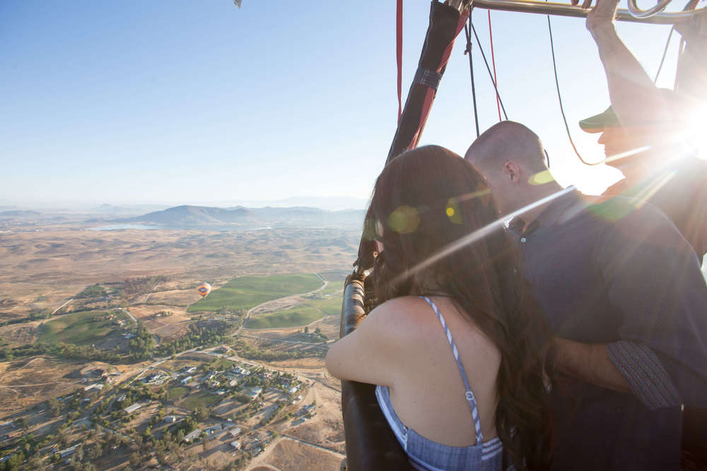 Anniversary hot air balloon ride with Compass Balloons