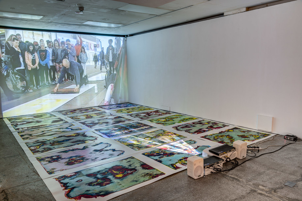 Corrupted Images (CMYK) and Performance Publishing: Market St. Manchester (2013), Installation view, Castlefield Gallery, Manchester.
