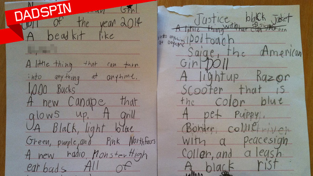 7 yr old girl's X'mas list