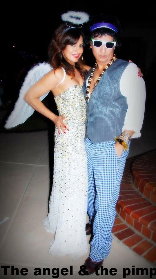 The author and her husband dressed up as an angel and a pimp!