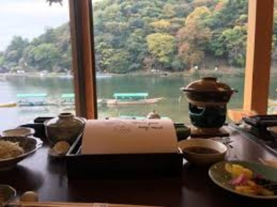View from the main dining room at our ryokan