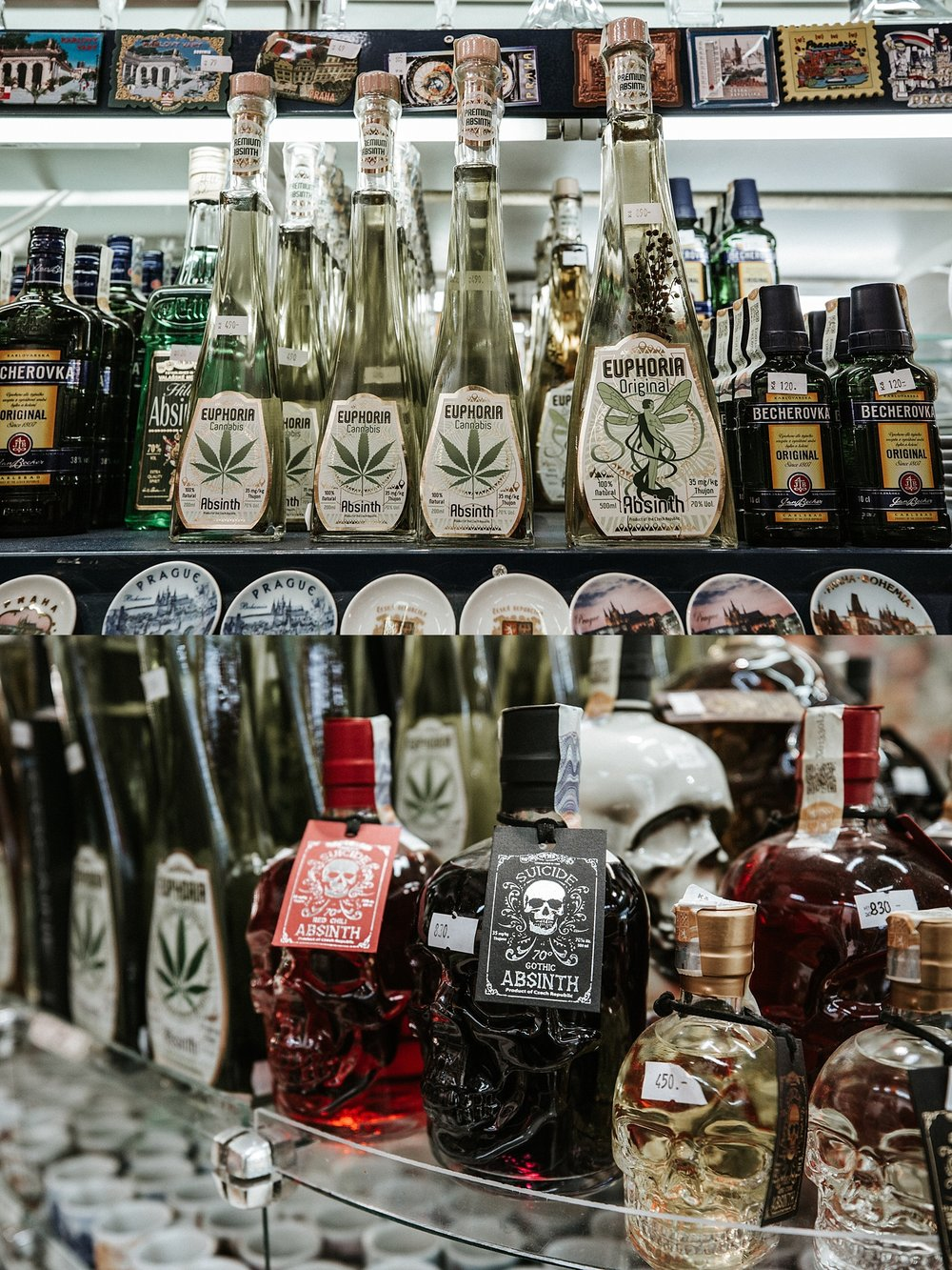 Absinthe was sold in the souvenir shops in Prague