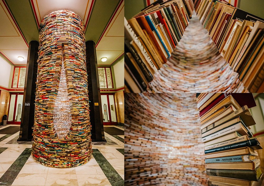 Matej Kren's book tower in the Prague Municipal Library