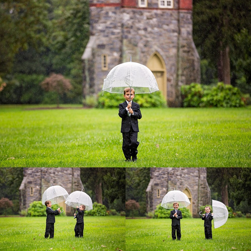 West Chester Pennsylvania Wedding Photographer Family Vow Renewal Anniversary Oakbourne Mansion Park rain umbrella photoshoot