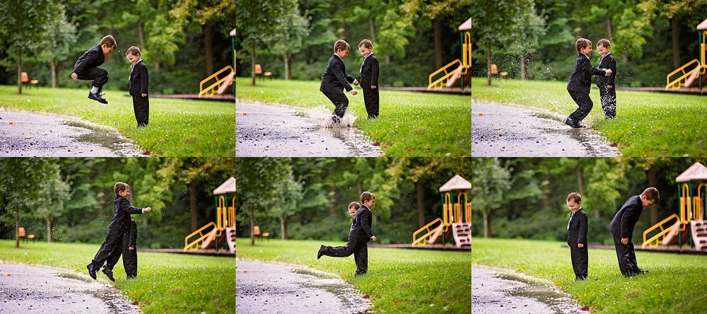 West Chester Pennsylvania Wedding Photographer Family Vow Renewal Anniversary Oakbourne Mansion Park rain mud puddle