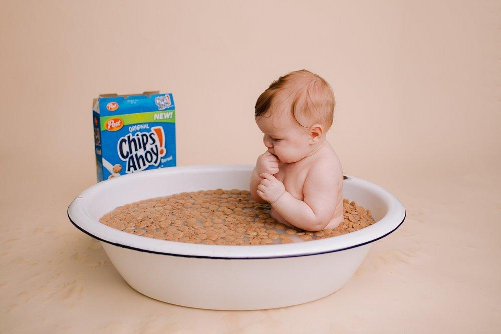 Berks County Pennsylvania children's studio portrait photographer milk bath baby