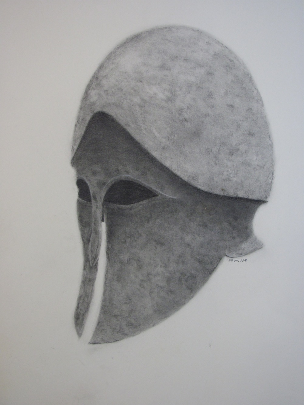 "Corinthian Helmet , charcoal on paper, 23"" x 30"", 2013"