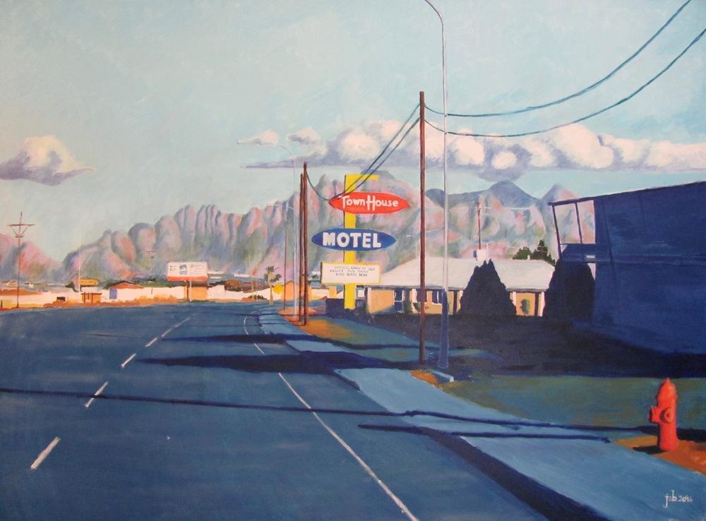 """Picacho Avenue, Las Cruces, New Mexico (No. 2),  Oil on Canvas, 40"""" x 30"""""""