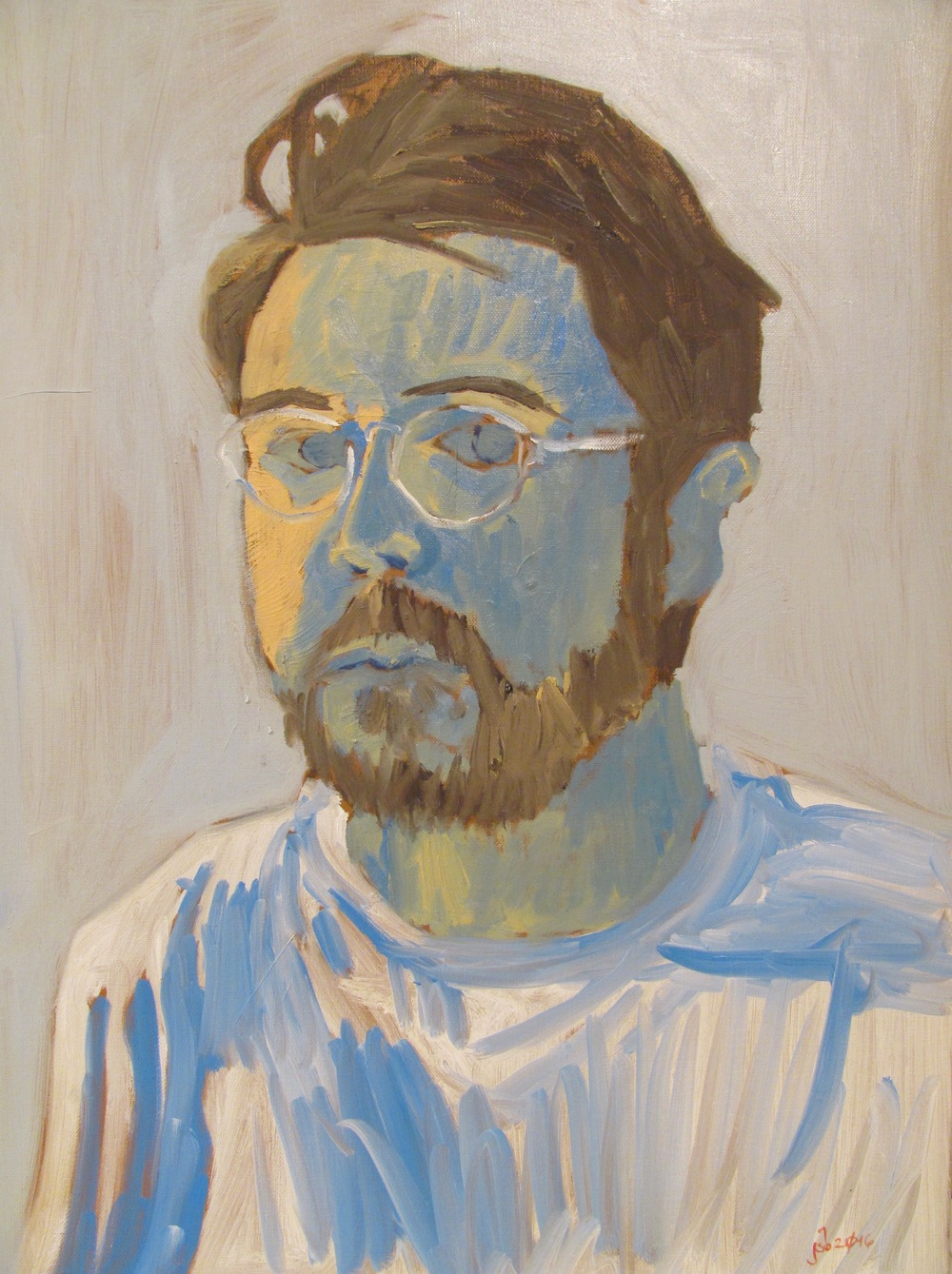 """Self Portrait (Blue and Yellow),  Oil on Canvas, 18"""" x 24"""", 2016"""