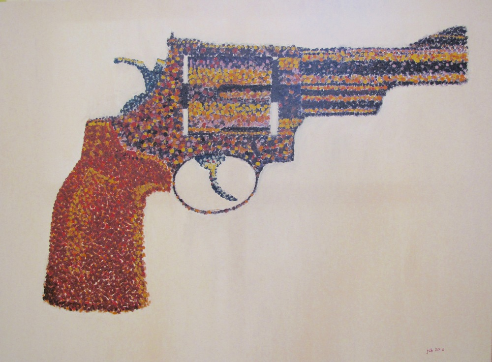 """Smith and Wesson Model 29 , Oil on Canvas, 40"""" x 30"""", 2016"""