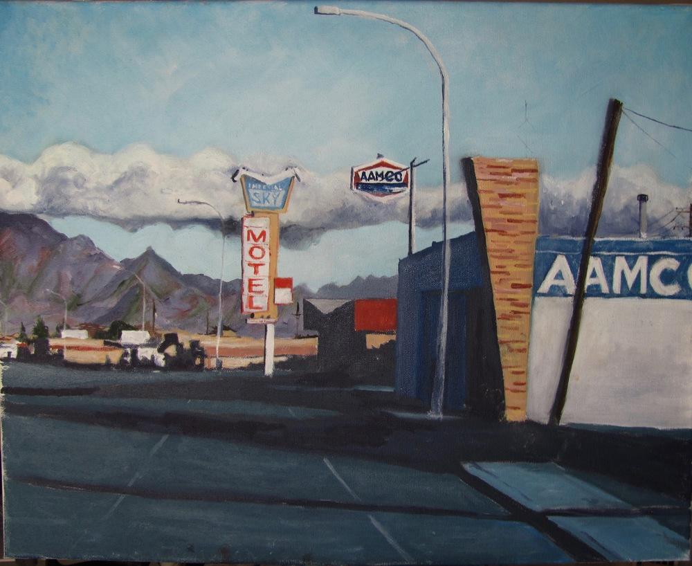"""Picacho Avenue, Las Cruces, New Mexico (No. 1),  Oil on Canvas, 20"""" x 16"""", 2015"""