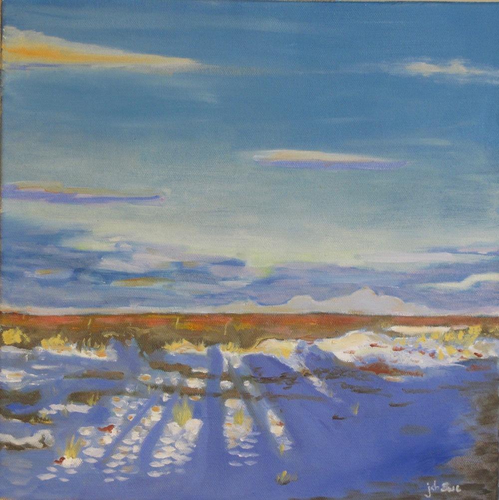 """Snow on High Desert,  Oil on Canvas, 12"""" x 12"""", 2015"""