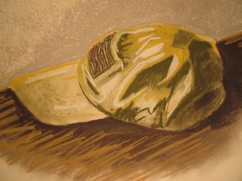 "My Afghanistan Hat,  Pastel on Paper,  11"" x 18"", 2014"
