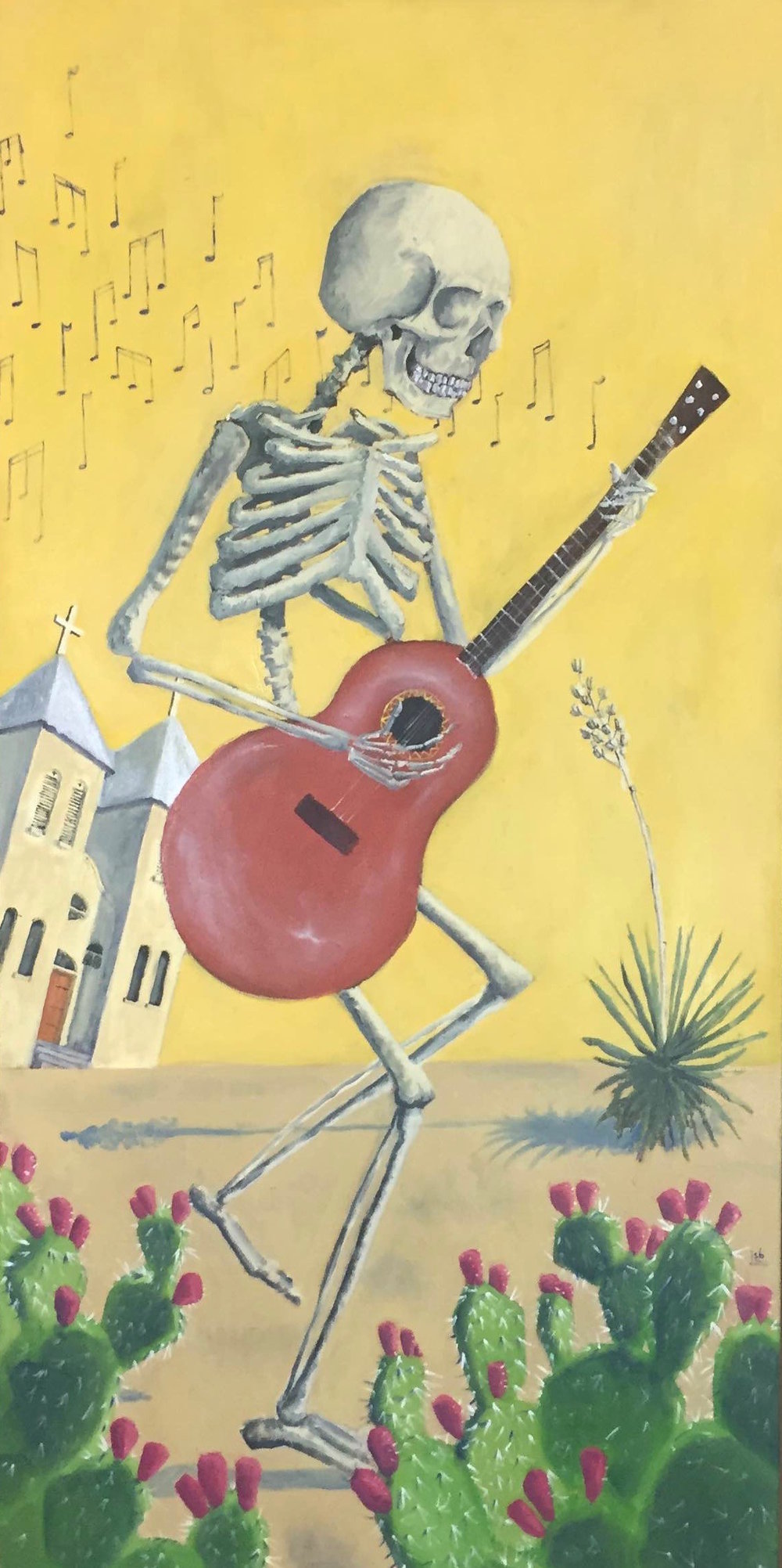 """Guitar Player, Oil on Canvas, 24""""x48"""""""