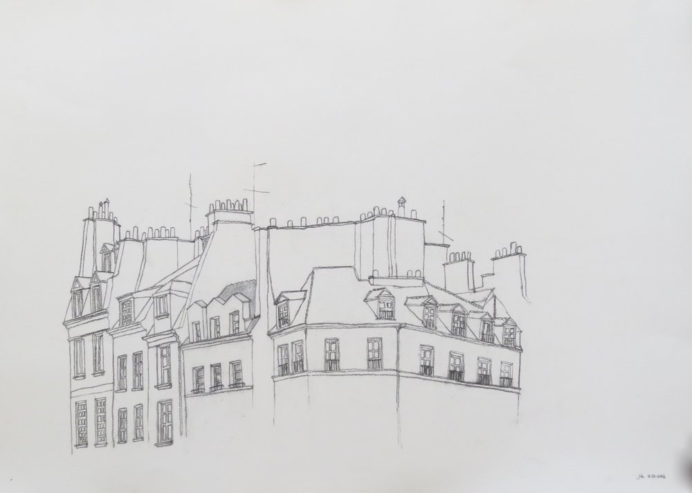 "Apartment building in Paris, Charcoal on Paper, 22"" x 30"", 2012"