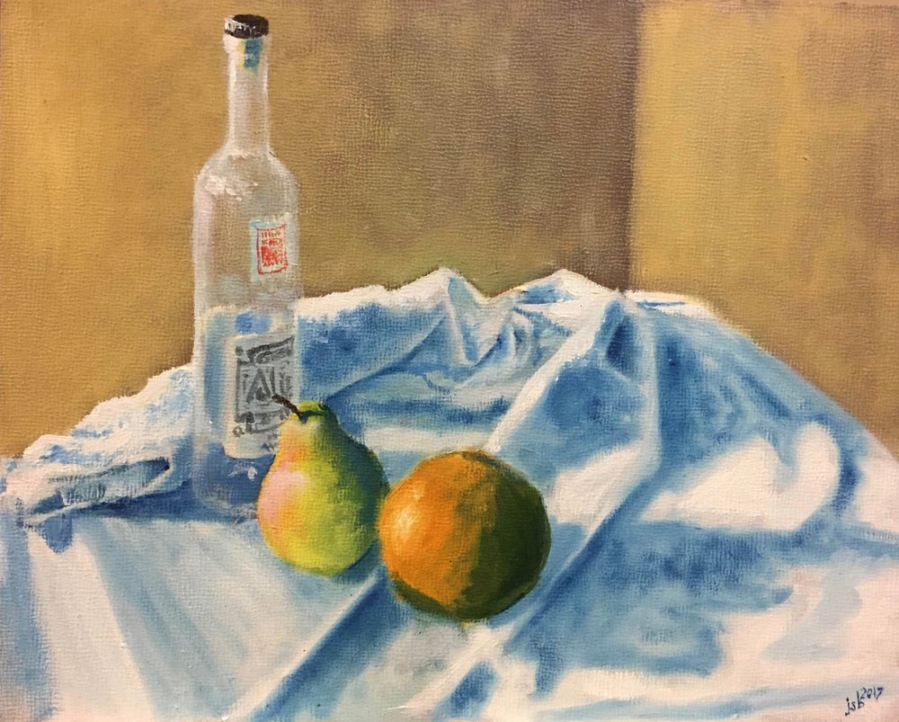 "Still Life with Orange, Pear, and Mezcal Bottle, Oil on Panel, 8""x 10"""