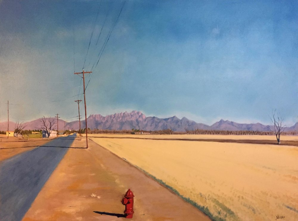 "Eastbound on Glass Road, Mesilla, New Mexico; Oil on Canvas; 30""x40""; 2017"