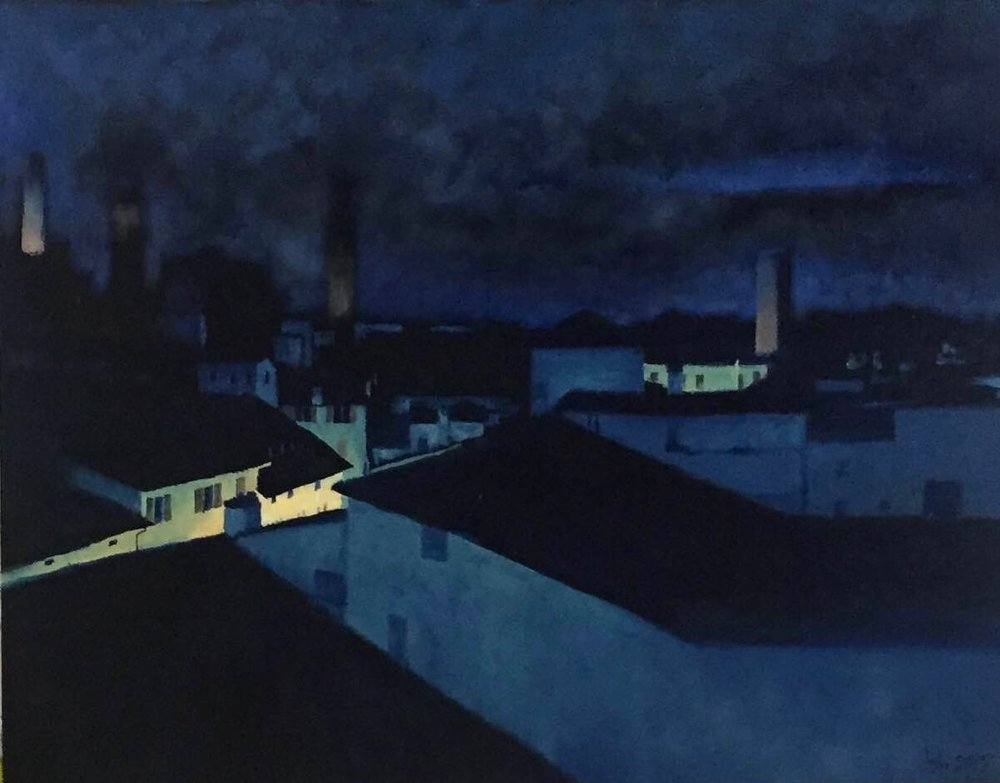 "Rooftops at night, Bologna, Italy; Oil on Canvas; 11""x14"", 2017"