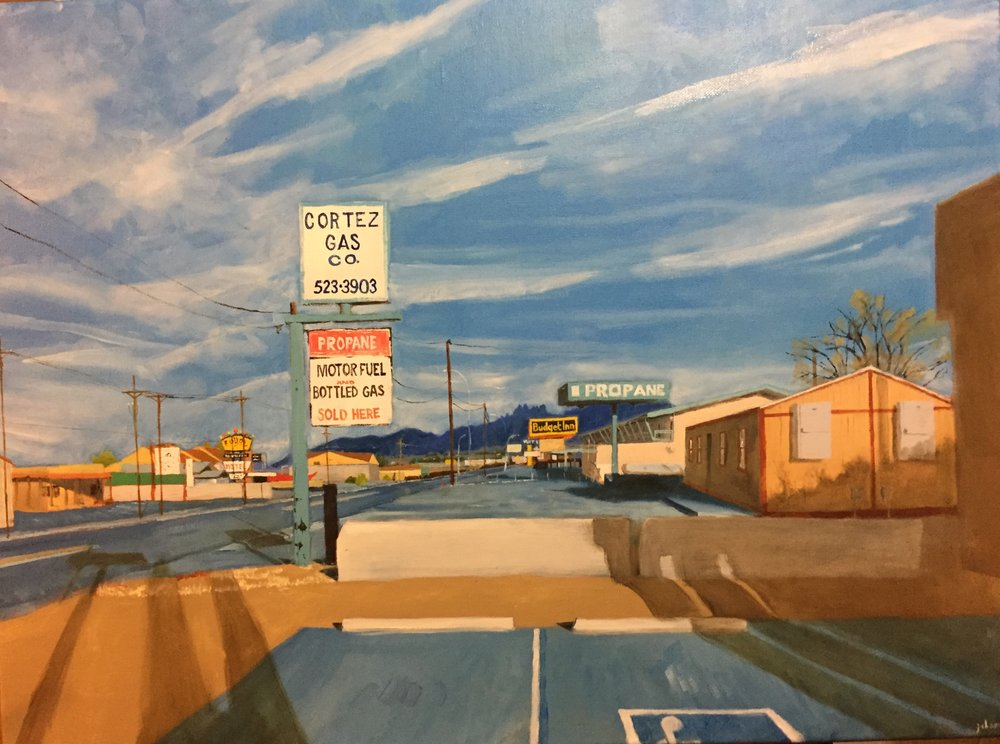"Picacho Avenue, Las Cruces, New Mexico, No. 3; Oil on Canvas; 18""x24""; 2018."