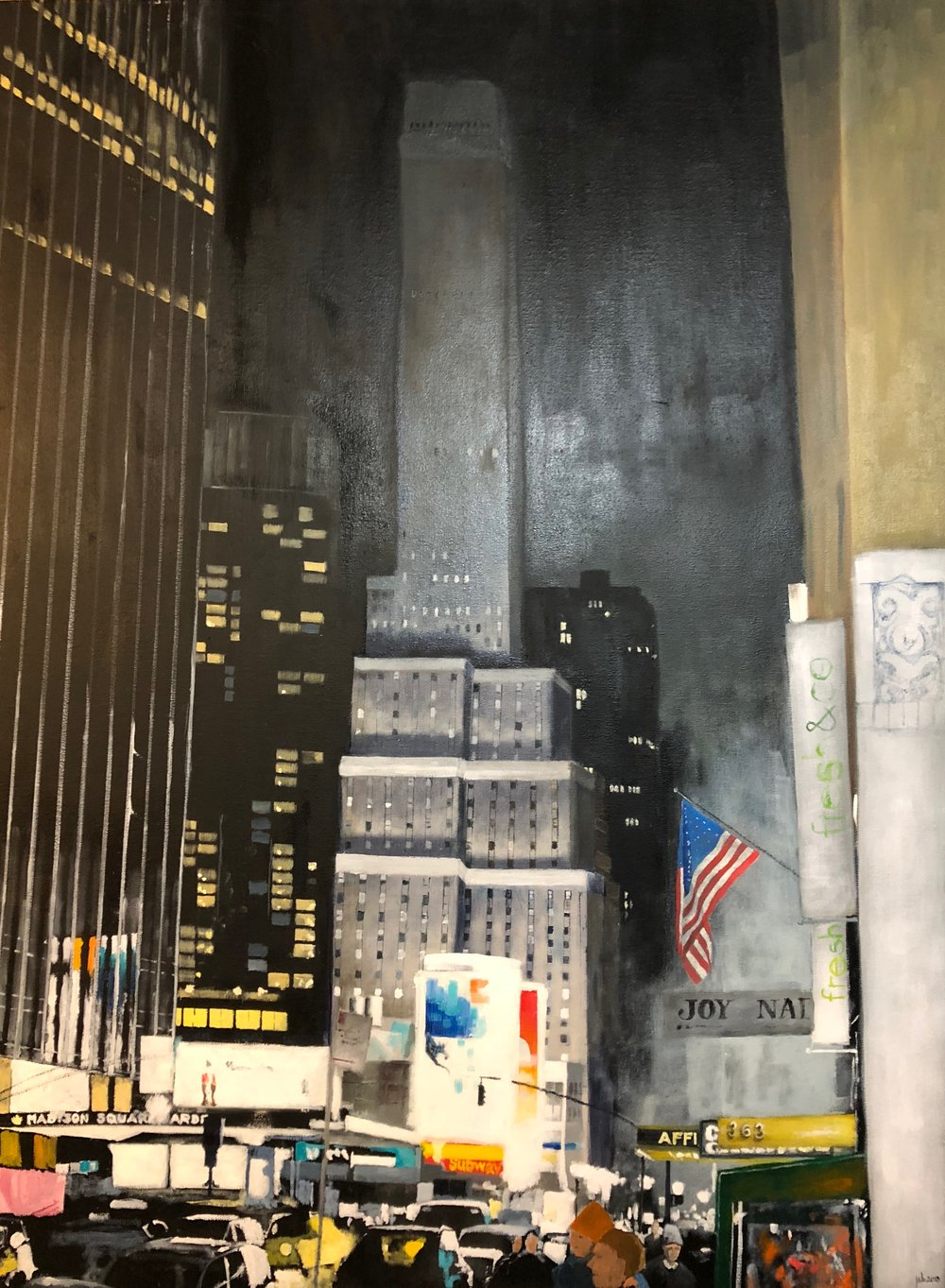 "Seventh Avenue, New York City; Oil on Canvas; 30""x40""; 2018"