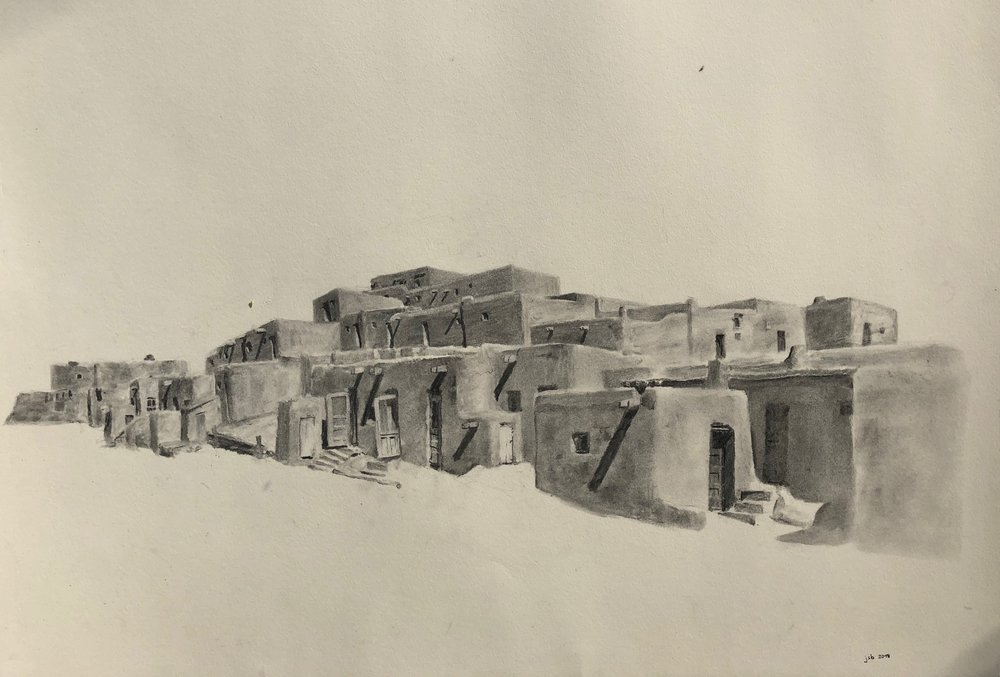 "Taos Pueblo, Taos, New Mexico; Willow Charcoal on Paper; 18""x24"""