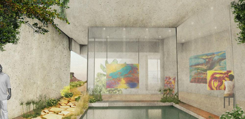 Courtyard + Art Studio view