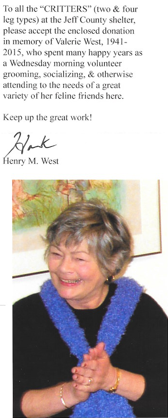 In memory of  Valerie West , HSJCWA Volunteer