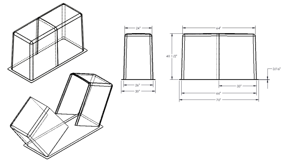 "24"" Clam Shell Fiberglass Enclosure Drawing"