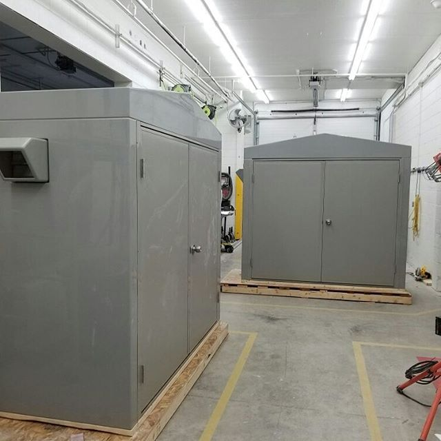 "#801097  Massachusetts  Two - 3' x 7' x 6' insulated FRP building - Corrim Gray, high gloss exterior - R7 insulation - Open bottom - Estimated total weight 325# each - Two ea - 6'0"" x 5'6"" grade II double door - One  ea - 2'0 ""x 4'6"" grade II single door - 5,118 Btu heavy duty wall heater - 7"", 140 cfm  galvanized shutter mounted exhaust fan and FRP rain canopy - 10"" x 10"" galvanized gravity intake damper mounted in door"