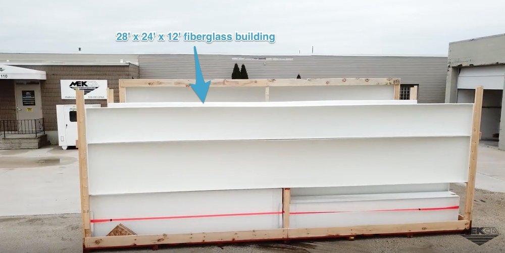 This fiberglass building is 28 feet long 24 feet wide and 12 feet tall at its eave unsupported.